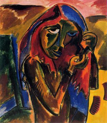Muchacha peinándose (1919). Karl Schmidt-Rottluff.